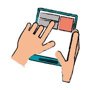 Drawing hand touch tablet web page Stock Illustration