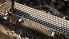 Car radiators on disassembled car. Stock Footage