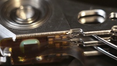 Internal part of the hard drive, close-up, electronic technology background. Stock Footage