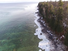 Crystal Clear Water - Winter Shoreline Stock Footage