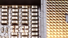CPU socket close up, electronic technology background. Stock Footage