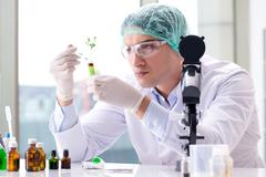Biotechnology concept with scientist in lab Stock Photos