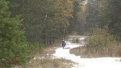 The girl in the forest and the first snow. Stock Footage