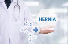 HERNIA Medical Report with Composition of Medicaments - Pills, Injections a.. Stock Photos