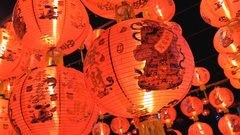 4K : Chinese paper lanterns in the night on Chinese new year celebration Stock Footage