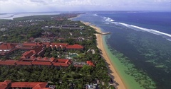 Aerial Footage of Beach Town Shoreline in Bali, Indonesia Stock Footage
