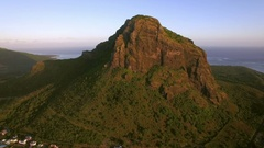 Le Morne Brabant mountain in Mauritius, aerial view Stock Footage