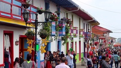 Street in Salento, Colombia Stock Footage