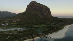 Le Morne Brabant peninsula with mountain, aerial Mauritius Stock Footage