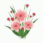 Pink flower bunch ornament Stock Illustration