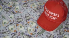 Make America Great Again Top Angle Hat and Cash Stock Footage