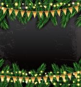 Empty Christmas Template with Fir Branches, Neon Garlands and Flags. Stock Illustration