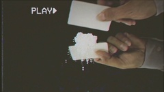 VHS cocaine on mirror preparing lines Stock Footage