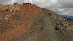 Climbing to northern break Great Tolbachik Fissure Eruption stock footage video Stock Footage