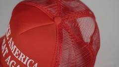 Trump hat made in mexico tag Stock Footage