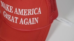 Trump hat and china tag Stock Footage
