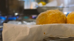 Home cooking of italian traditional dish arancini Stock Footage