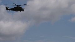 Russian military helicopters flying Stock Footage