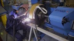 Metalworker Welder welding machine parts Stock Footage