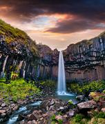 Summer scene of famous Svartifoss (Black Fall) Waterfall Stock Photos