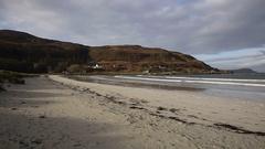 Calgary Bay Isle of Mull Scotland uk beautiful white sand beaches pan Stock Footage