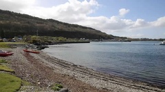 Craignure Isle of Mull Argyll and Bute Scotland uk view to ferry port pan Stock Footage