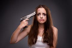 Woman in violence and discrimination concept Stock Photos