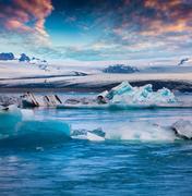 Floating of blue icebergs in Jokulsarlon glacial lagoon Stock Photos