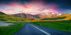 Colorful summer sunset near the Grundarfjordur town. Stock Photos