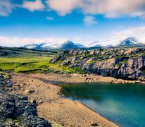 Typical Icelendic landscape with volcanic cround and pure water lakes. Stock Photos