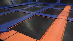 An empty trampoline at a jump park. Stock Footage