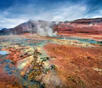 Steaming fumarole in geothermal valley Hverarond Stock Photos
