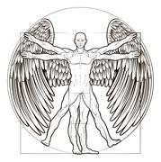 Vitruvian Man Angel Stock Illustration