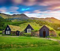 Tipical view of Icelandic turf-top  houses. Stock Photos