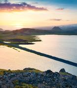 Colorful evening view from the Dyrholaey peninsula Stock Photos