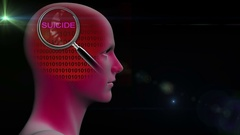 Profile of a man with close up of magnifying glass on word .suicide Stock Footage