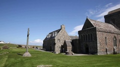Iona Abbey Scotland uk Scottish island off Isle of Mull Stock Footage