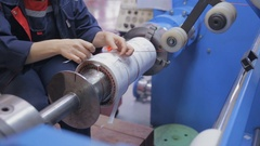 Copper wire forming machine. Modern industrial equipment for transformer Stock Footage