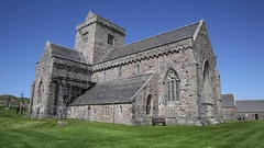 Iona Abbey Scotland uk on the Isle of Iona Stock Footage