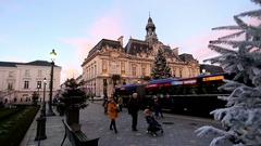 Christmas tree and Hotel de Ville Tours, France Stock Footage
