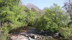 River Clachaig Glencoe Scotland UK country scene in Scottish Highlands in spring Stock Footage