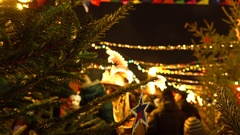 Defocused people at traditional New Year and Christmas market on the Red Square Stock Footage