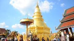 Wat Phra That Hariphunchai temple in Lamphun, Thailand. Stock Footage