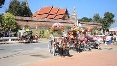 Horses carriage standing at Wat Phra That Lampang Luang in Lampang, Thailand Stock Footage
