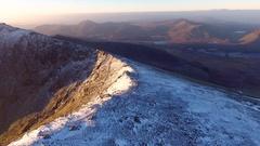 Panning aerial shot over snowdonia, UK. Stock Footage