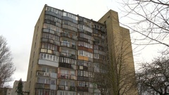 Typical socialist block of flats in Vilnius, Lithuania. East Europe Stock Footage
