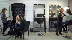 Female beauticians do different procedures and services in beauty salon. Stock Footage