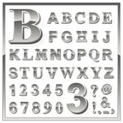 Greyscale metallic numerals and alphabet letters Stock Illustration
