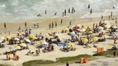 People on a beach, Rio de Janeiro, Brazil Stock Footage