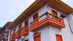 Traditional house in Salento, Colombia Stock Footage